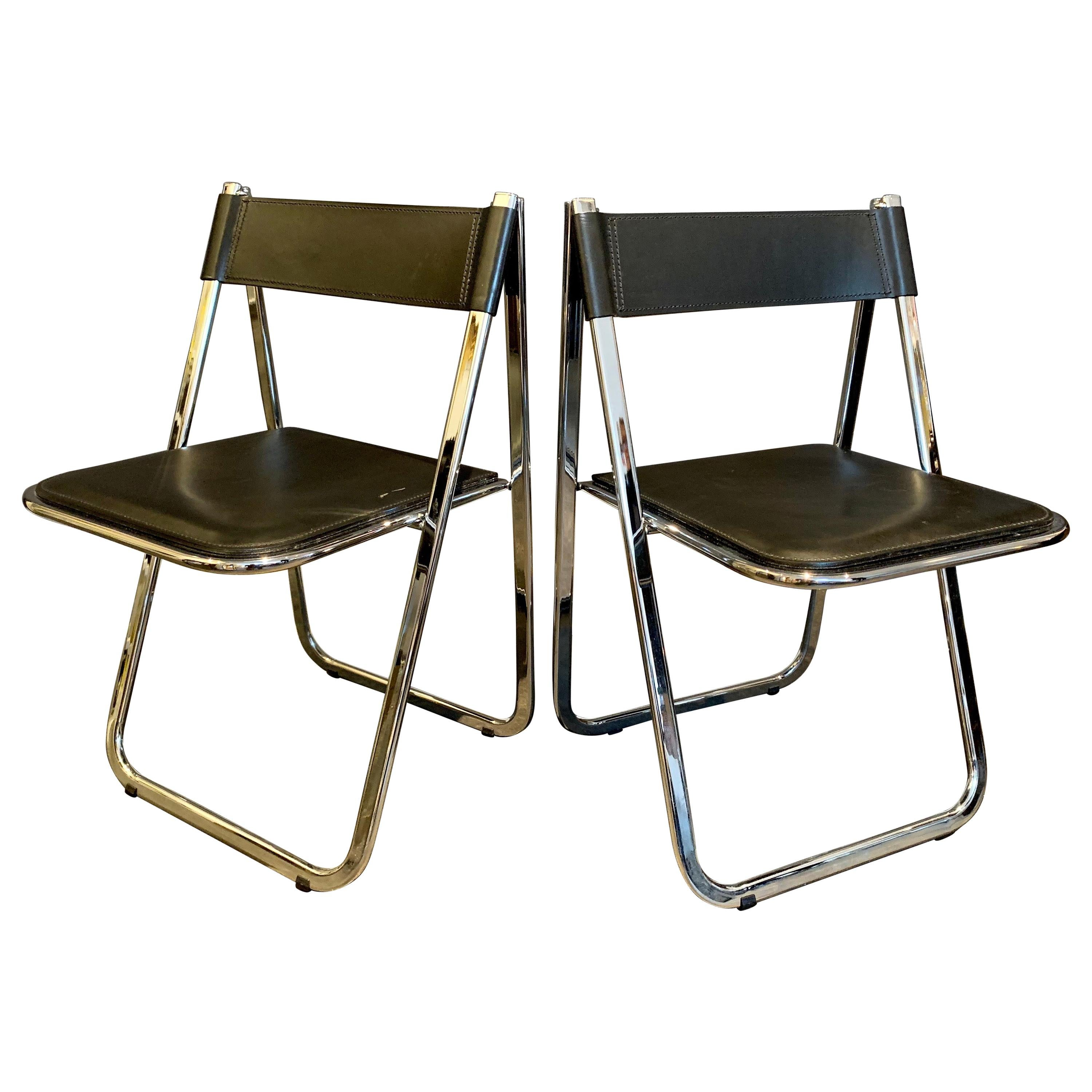 """Tamara"" Stitched Leather Folding Chairs by Arrben Italia, Pair"