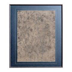 Tamayo Original Etching, 1979, Figura de Hombre en Azul con Fondo Gris