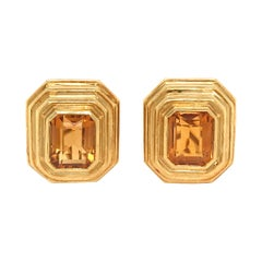 Tambetti 18 Karat Yellow Gold Citrine Clip-Ons Earrings