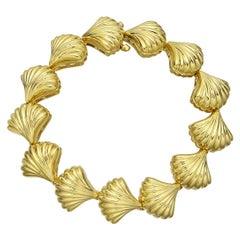 Tambetti 18 Karat Yellow Gold Shell Link Bracelet