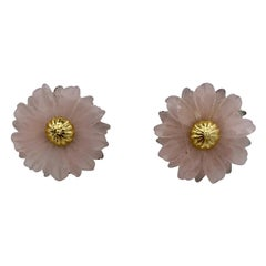 Tambetti Rose Quartz 18 Karat Gold Earrings Estate Barbara Taylor Bradford OBE