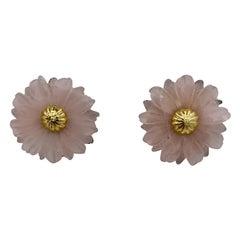 Tambetti Rose Quartz 18 Karat Gold Earrings Estate Barbara Taylor Bradford OBE