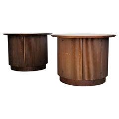 Tambor Door Walnut Drum Table Cabinets