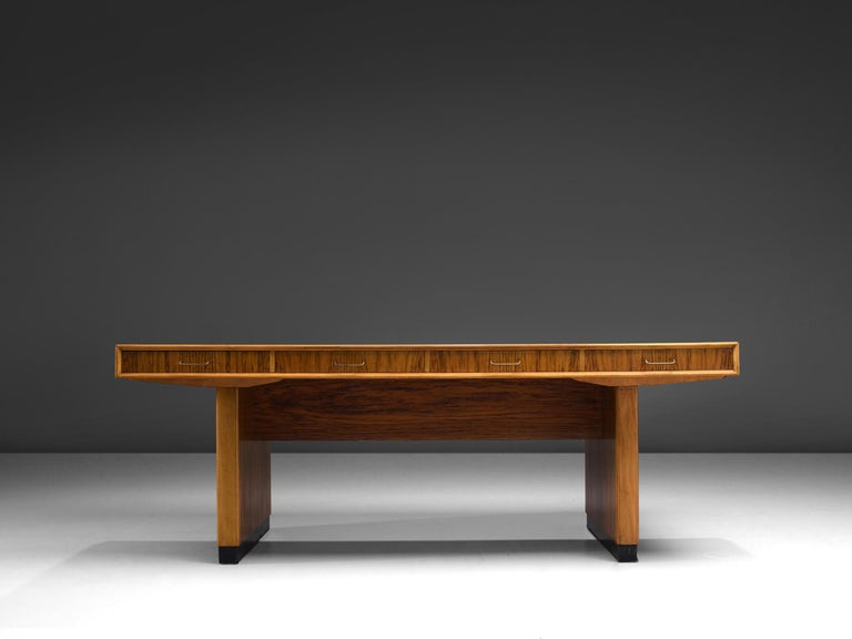 Mid-Century Modern Tambour Desk with Rosewood and Walnut