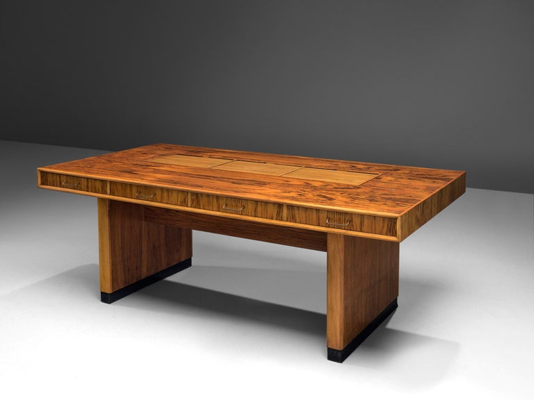 Dutch Tambour Desk with Rosewood and Walnut