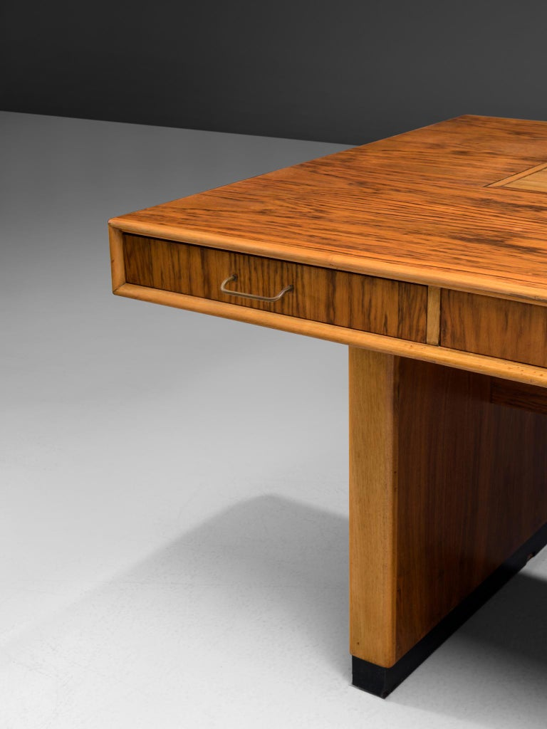 Wood Tambour Desk with Rosewood and Walnut
