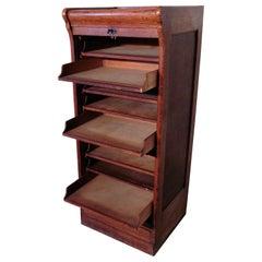Tambour Fronted Oak Art Deco Filing Cabinet