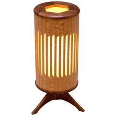 Tambour Table Lamp in Walnut, Lacewood, and Japanese Paper