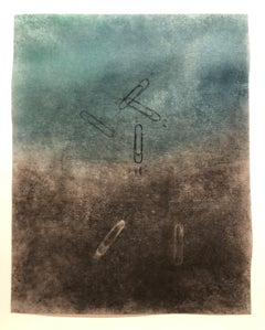 Paper Clip Rubbing, abstracted turquoise pastel rubbing on vellum, 2011