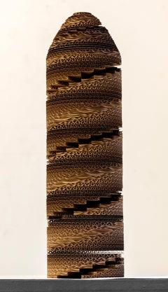 Tamiko Kawata, Spiral Tower, Cardboard sculpture, 2016