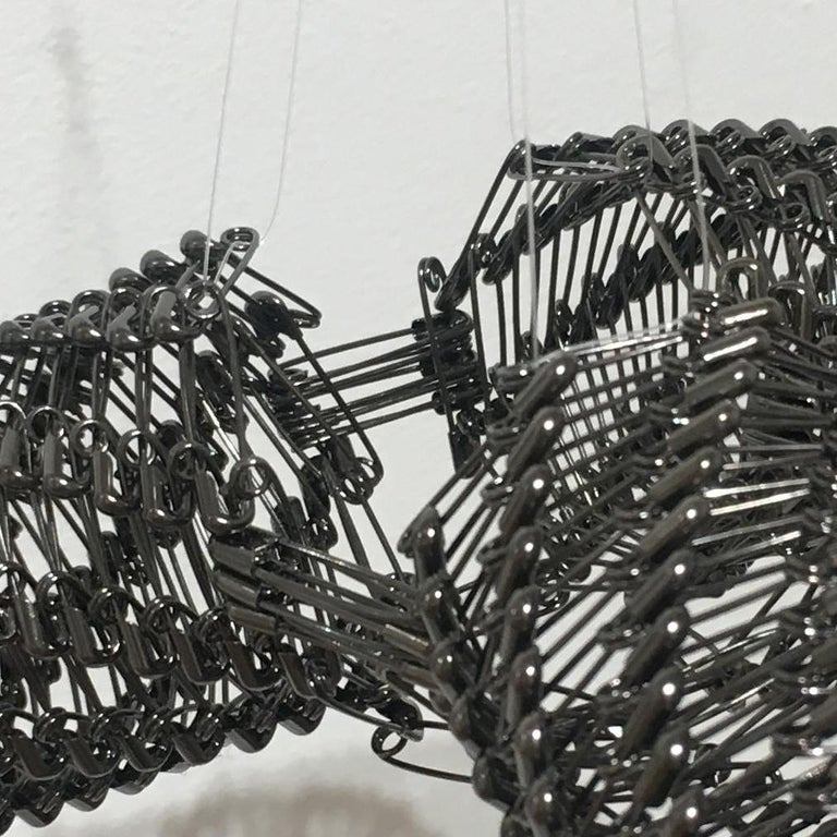 Tamiko Kawata, Three Wings (small), Safety pins sculpture, 2016 For Sale 3