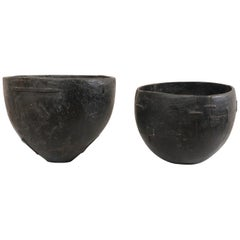 Tamil Nadu, South Indian Carved Wood Water Buckets, Early 20th Century