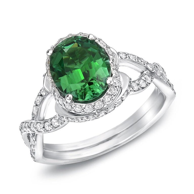 Modern Green Chrome Tourmaline Diamond White Gold Ring 1.97 Carat Oval  For Sale