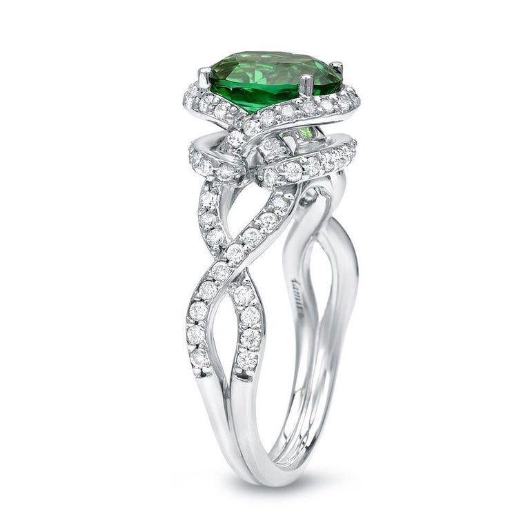 Oval Cut Green Chrome Tourmaline Diamond White Gold Ring 1.97 Carat Oval  For Sale