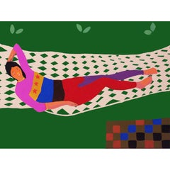 'Tammy on a Hammock' Portrait Painting by Alan Fears Pop Art
