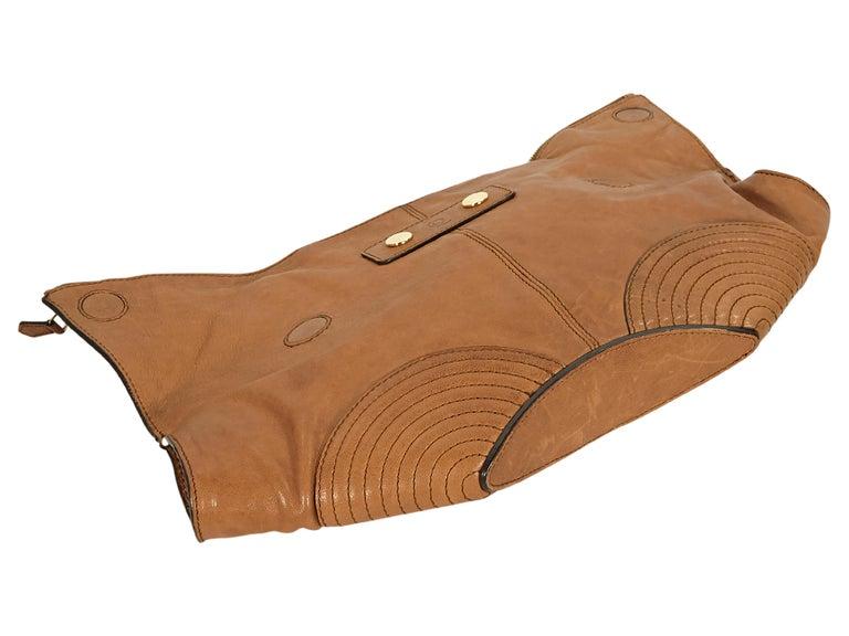 Brown Tan Alexander McQueen Leather De Manta Clutch For Sale