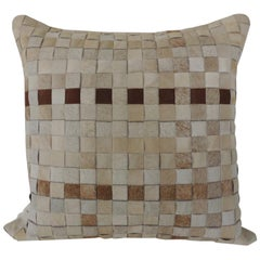 Tan and Brown Cowhide Basket Weave Decorative Pillow