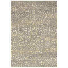 Tan and Grey Wool and Silk Rug from Modern Persian Collection by Gordian