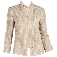 Tan And White Chanel Tweed Jacket