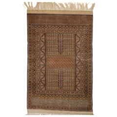 Tan Brown Beige Afghan Hachlu NZ Wool Hand Knotted Rust Rug or Tapestry