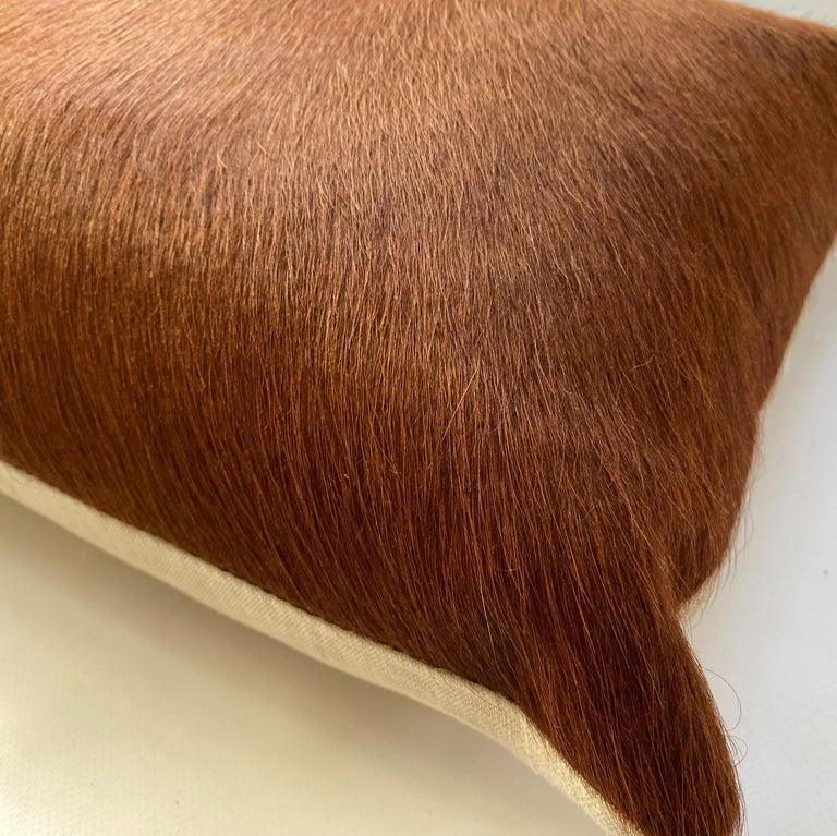 Industrial Tan Brown Cowhide Pillow, Lumbar Cushion For Sale