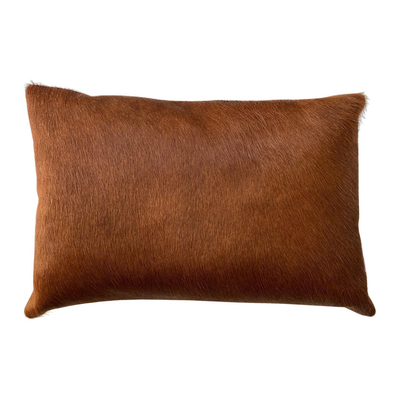 Tan Brown Cowhide Pillow, Lumbar Cushion