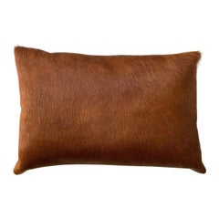 Tan Brown Cowhide Pillow, Lumbar Cushion
