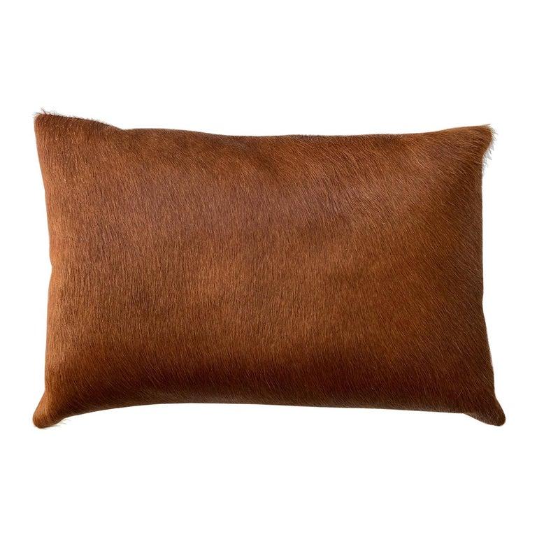 Tan Brown Cowhide Pillow, Lumbar Cushion For Sale