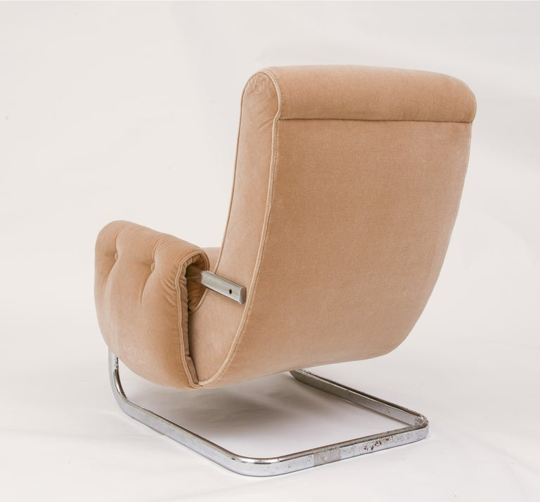 20th Century Tan Brown Mohair Velvet Large Lounge Chairs, Guido Faleschini, 1970's, Italy