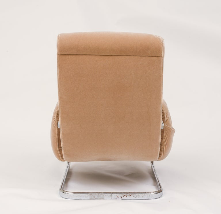 Chrome Tan Brown Mohair Velvet Large Lounge Chairs, Guido Faleschini, 1970's, Italy