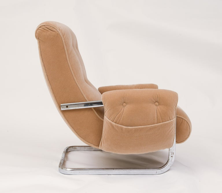 Tan Brown Mohair Velvet Large Lounge Chairs, Guido Faleschini, 1970's, Italy 1