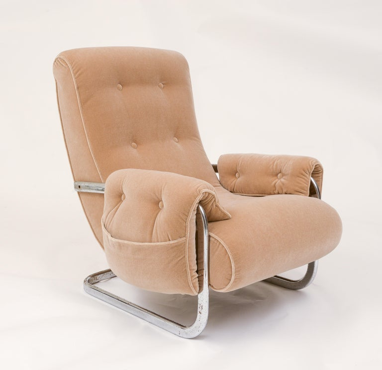 Tan Brown Mohair Velvet Large Lounge Chairs, Guido Faleschini, 1970's, Italy 2