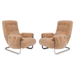 Tan Brown Mohair Velvet Large Lounge Chairs, Guido Faleschini, 1970's, Italy