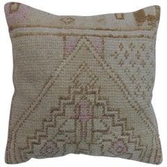 Tan Brown white Turkish Rug Pillow