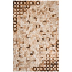 Tan, caramel Tessellation Trellis Cowhide Area Floor Rug X-Large