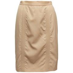 Tan Chanel Knee-Length Pencil Skirt