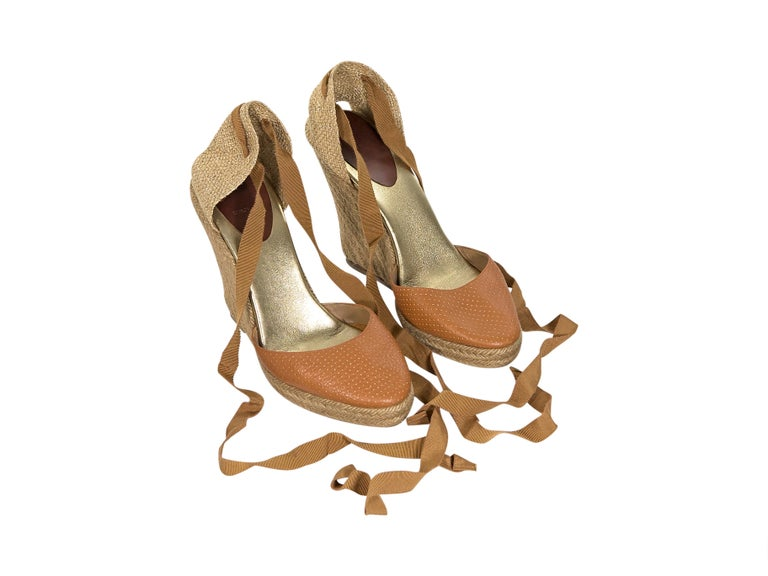 8cf743a9f07 Tan Christian Louboutin Leather & Woven Espadrille Sandals