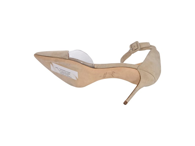 Giuseppe Zanotti Tan Suede Ankle-Strap Pumps In Good Condition In New York, NY