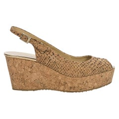 Jimmy Choo Tan Cork Peep-Toe Wedges