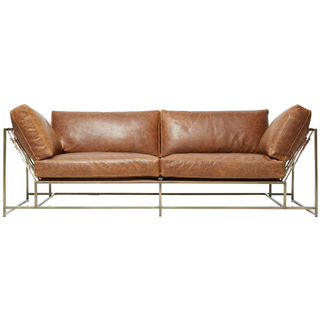 Tan Leather & Antique Brass Two Seat Sofa