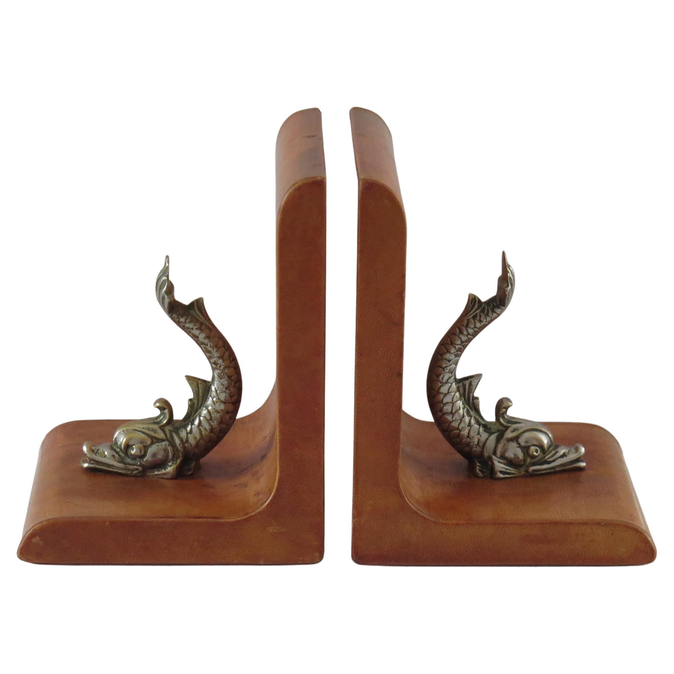 Tan Leather Bookends Mounted with Gilt Bronzed Dolphins, Italian circa 1940