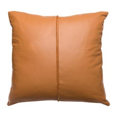 Tan Leather Pillow with Cross Stitch