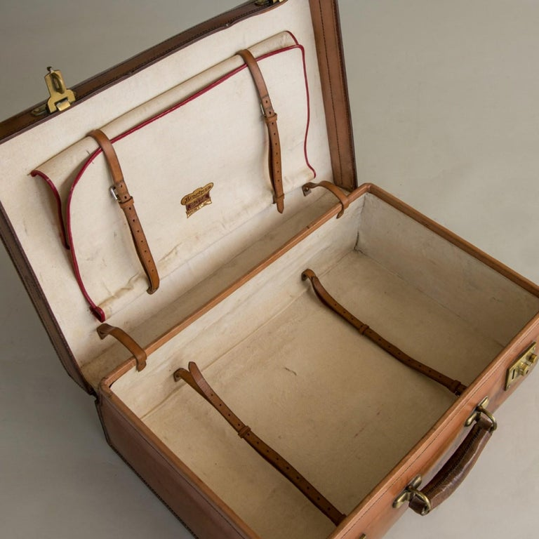 Tan Leather Suitcase, circa 1900. For Sale 9