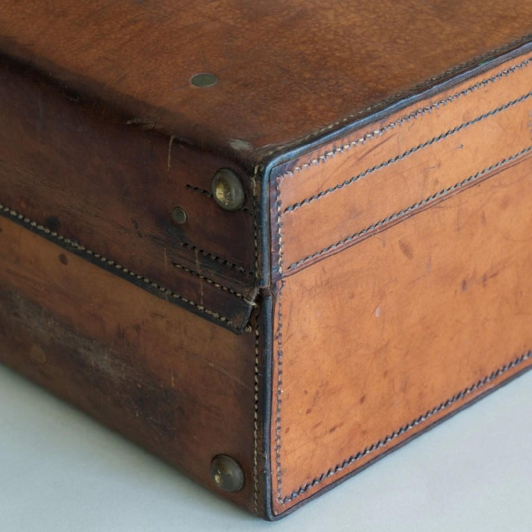 Tan Leather Suitcase, circa 1900. For Sale 11