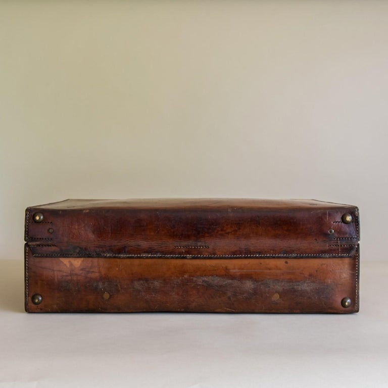 Brass Tan Leather Suitcase, circa 1900. For Sale