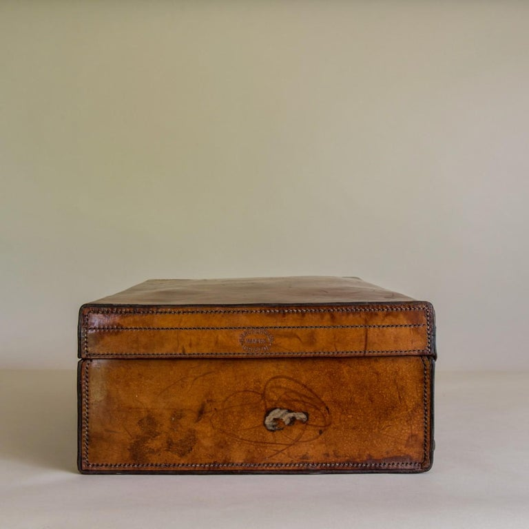 Tan Leather Suitcase, circa 1900. For Sale 1
