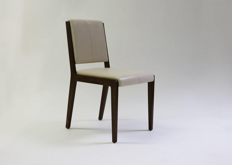 Tan Leather Upholstered Side Chair with Saddle Stitch Detail and Wood Frame 2