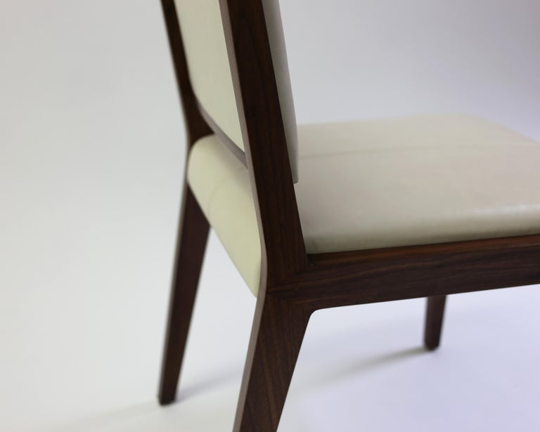 Tan Leather Upholstered Side Chair with Saddle Stitch Detail and Wood Frame 5
