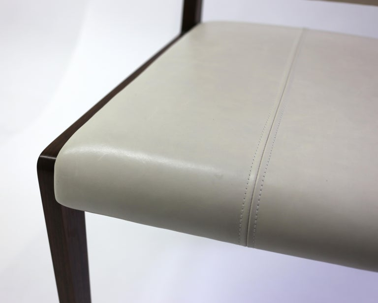 Tan Leather Upholstered Side Chair with Saddle Stitch Detail and Wood Frame 6