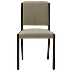 Tan Leather Upholstered Side Chair with Saddle Stitch Detail and Wood Frame